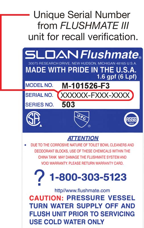 Serial number on Flushmate III from flushmate.com